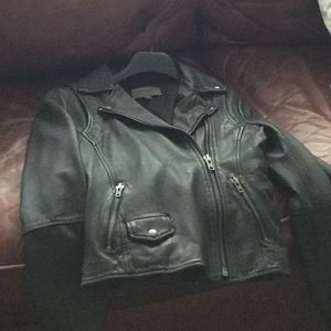 Muubaa black leather jacket.thick and heavyweight